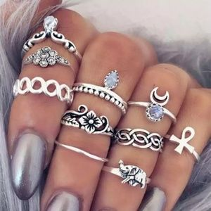 Silver Ten Piece Boho Midi Ring Set